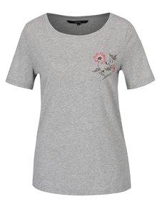 Sivé tričko s krátkym rukávom a výšivkou VERO MODA Emmy