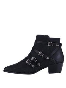 Čierne kožené členkové topánky Pieces Pedra