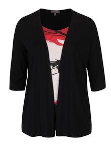 Červeno-černá halenka s našitým cardiganem Ulla Popken