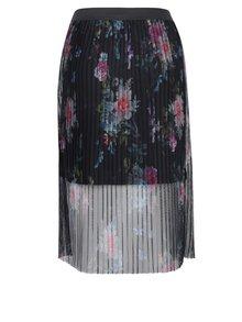 Tmavomodrá tylová plisovaná kvetovaná sukňa ONLY Nanna