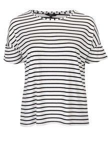 Černo-krémové pruhované tričko Ulla Popken