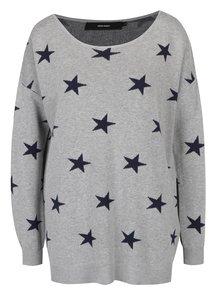 Sivý sveter s motívom hviezd VERO MODA Dotty