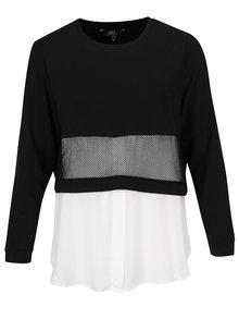 Krémovo-černý top s všitou košilí Ulla Popken