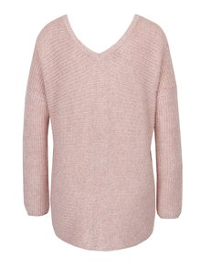 Staroružový melírovaný sveter so šnurovaním v dekolte ONLY Peyton