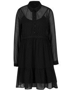 Čierne bodkované košeľové šaty s volánom VERO MODA Flocks