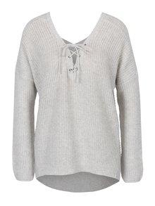 Světle šedý žíhaný svetr se šněrováním v dekoltu ONLY Peyton