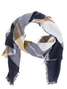 Krémovo-modrý šál so strapcami ONLY Nora
