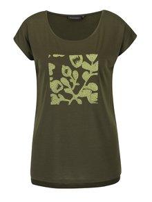 Kaki dámske voľné tričko s plastickými detailmi Broadway Lene