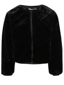 Čierna dievčenská bunda z umelej kožušiny name it Kimba