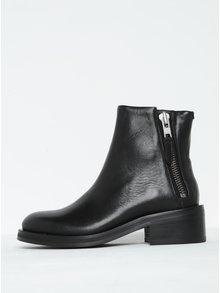 Čierne dámske kožené členkové topánky na širokom podpätku Royal RepubliQ