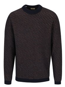 Tmavomodrý vzorovaný sveter s prímesou vlny Selected Homme Twill