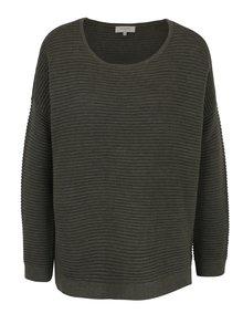 Kaki voľný rebrovaný sveter Selected Femme Laua