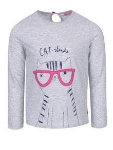 Sivé melírované dievčenské tričko s motívom mačky Tom Joule Ava