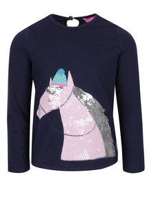 Tmavomodré dievčenské tričko motívom koňa z flitrov Tom Joule Ava Luxe