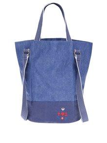 Modrá kabelka s popruhy a výšivkou loga Blutsgeschwister