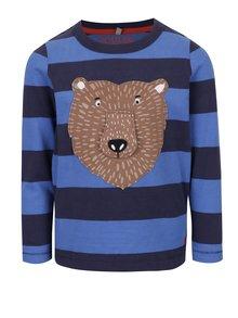 Modré chlapčenské pruhované tričko s nášivkou medveďa Tom Joule Chomp