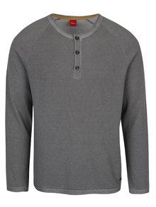 Šedý pánský žíhaný svetr s knoflíky s.Oliver