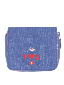 Modrá peněženka s výšivkou loga Blutsgeschwister