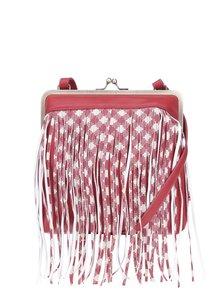 Červená crossbody kabelka s třásněmi Blutsgeschwister