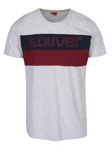 Světle šedé žíhané pánské tričko s potiskem s.Oliver
