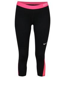 Ružovo-čierne dámske funkčné 3/4 legíny Nike