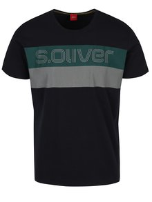 Tricou bleumarin cu print text -  s.Oliver