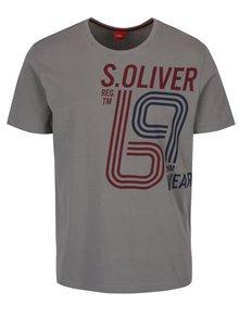 Sivé pánske tričko s potlačou s.Oliver