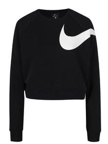 Čierna dámska voľná krátka funkčná mikina s potlačou Nike