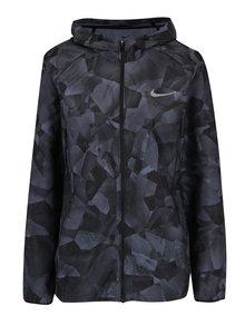 Sivo-čierna dámska vzorovaná tenká funkčná bunda s kapucňu Nike