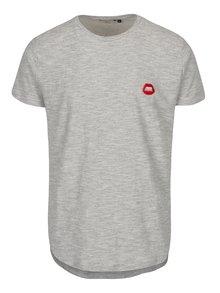 Šedé žíhané tričko s aplikací RVLT