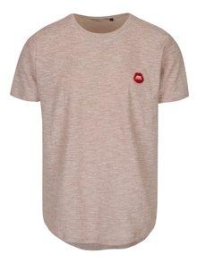Světle hnědé žíhané tričko s aplikací RVLT