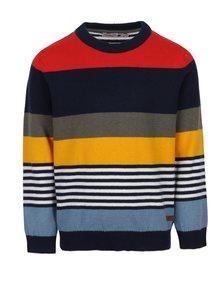 Červeno-modrý chlapčenský pruhovaný sveter s prímesou mohéru BÓBOLI
