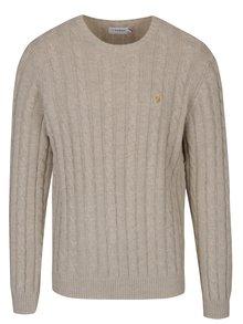 Krémový pletený sveter s prímesou vlny Farah Norfolk