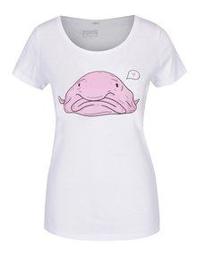 Tricou alb din bumbac organic cu print - ZOOT Originál Blob fish