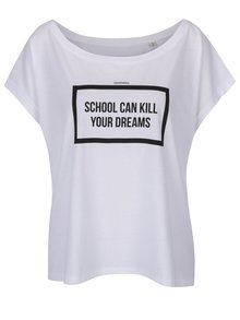Tricou oversize alb cu mesaj din bumbac organic - ZOOT Originál School can kill
