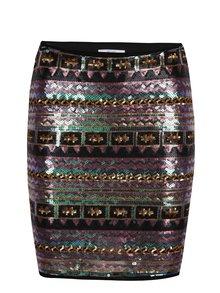 Čierno-fialová vzorovaná lesklá sukňa z flitrov DÉCCADA