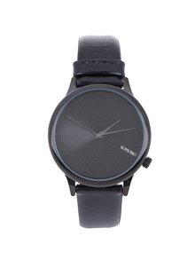 Unisex hodinky v černé barvě s koženým černým páskem Komono Estelle Deco