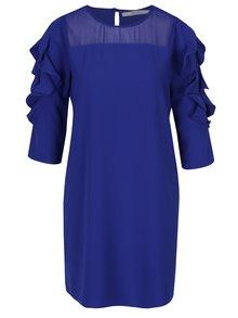 Modré šaty s průsvitným sedlem a volány na rukávech DÉCCADA