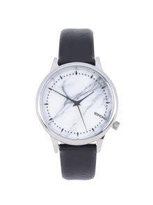 Vzorované unisex hodinky ve stříbrné barvě s černým koženým páskem Komono Estelle Marble