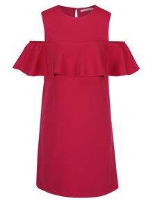 Růžové šaty s průstřihy na ramenou a volánem DÉCCADA