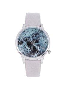 Vzorované unisex hodinky ve stříbrné barvě s šedým koženým páskem Komono Estelle Marble