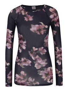 Tmavofialové kvetované priesvitné tričko DEHA