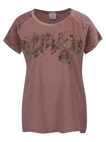 Růžové tričko s potiskem a sametovými rukávy DEHA