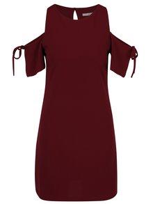 Rochie roșu bordo cu decupaje pe umeri - DÉCCADA