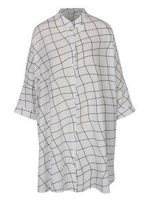 Krémové voľné vzorované košeľové šaty DÉCCADA
