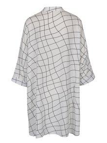 Krémové volné vzorované košilové šaty DÉCCADA
