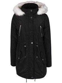 Čierna zimná parka s kapucňou a umelým kožúškom Dorothy Perkins