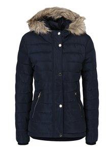 Tmavomodrá prešívaná zimná bunda s umelou kožušinou Dorothy Perkins