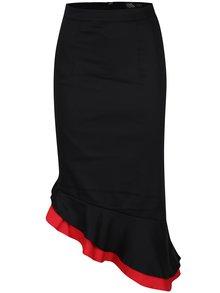 Červeno-čierna puzdrová sukňa s volánom Dolly & Dotty Madison