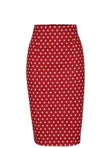 Červená puntíkovaná pouzdrová sukně Dolly & Dotty Falda